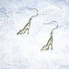 FASHIONISTA SILVER ALLOY SHOES / PUMPS / HIGH HEELS DANGLING DIVA CHARM EARRINGS