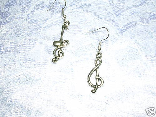 NEW SILVER ALLOY MIX MUSIC NOTE & G CLEF SYMBOL MUSICAL FASHION METAL EARRINGS