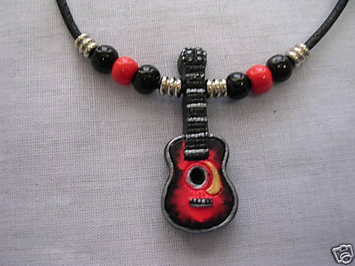 HAND PAINTED ACOUSTIC CLASSICAL GUITAR CERAMIC PENDANT ADJ NECKLACE