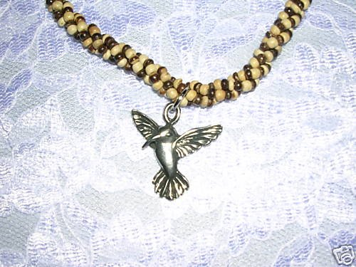 """SALE PEWTER HUMMINGBIRD BROWN & TAN TWISTED COCO BEAD 14"""" BEADED NECKLACE"""