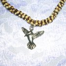 "SALE PEWTER HUMMINGBIRD BROWN & TAN TWISTED COCO BEAD 14"" BEADED NECKLACE"