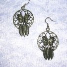 TRIBAL BUTTERFLY NATURE DREAM CATCHER DANGLING PEWTER PENDANT EARRINGS