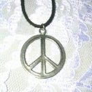 WAY COOL HIPPE 2 SIDED PLAIN PEACE SIGN PEWTER PENDANT ADJ CORD NECKLACE