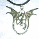 AWESOME FANTASY WINGED DRAGON SILVER PEWTER PENDANT NECKLACE
