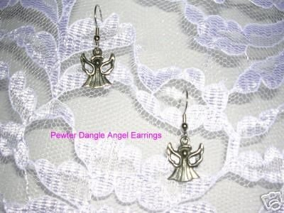 CUTE ANGELS PEWTER GUARDIAN ANGEL DANGLING CHARM EARRINGS HAND CAST JEWELRY