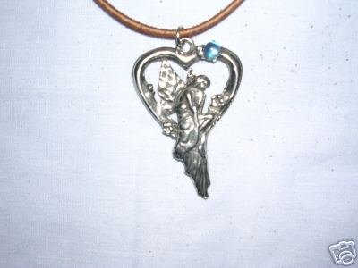 FAE NYMPH MYSTICAL FAIRY SITTING ON HEART SWING w BABY BLUE GEM PEWTER PENDANT NECKLACE