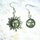 NEW CELESTIAL FULL MOON & FLAMING SUN DANGLING USA CAST PEWTER PENDANT EARRINGS