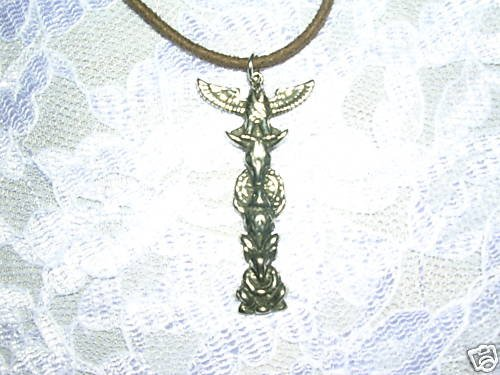 WILD INDIAN EAGLE BULL SKULL BUFFALO & DEER MAN TOTEM POLE PEWTER PENDANT NECKLACE