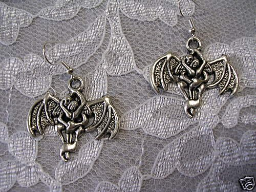 NEW GHOSTLY DEMON with WOMAN VAMPIRE SINISTER TWISTED CHARM EARRINGS