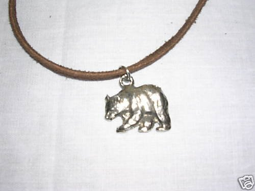 POLAR BEAR BROWN BEAR GRIZZLY PEWTER PENDANT ADJ STRING CORD NECKLACE WILDLIFE BEARS