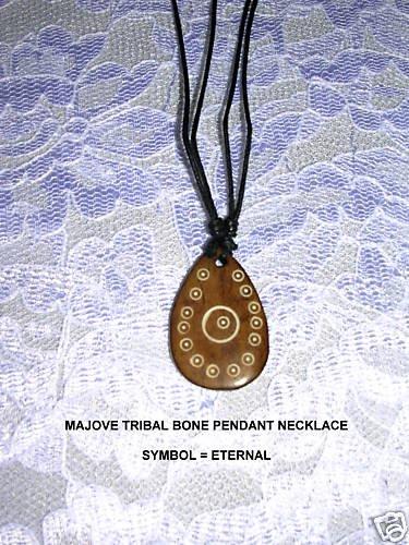 MOJAVE TRIBAL INFINITE ART ETERNAL SYMBOL HORN PENDANT ADJ  NECKLACE