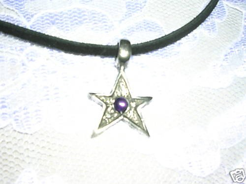 COOL STAR w PURPLE GEM SILVER PEWTER PENDANT NECKLACE