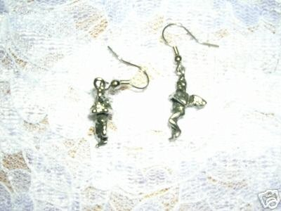 NEW CHERUB ANGELS 3D SILVER PEWTER DANGLING CHARM EARRINGS