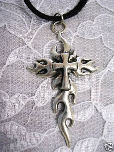 NEW FIRE FLAME FLAMING CROSS ALLOY SILVER PENDANT ADJ NECKLACE