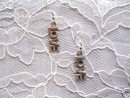 NEW L O V E LOVE TEXT LETTERS DANGLING SILVER ALLOY FASHION EARRINGS