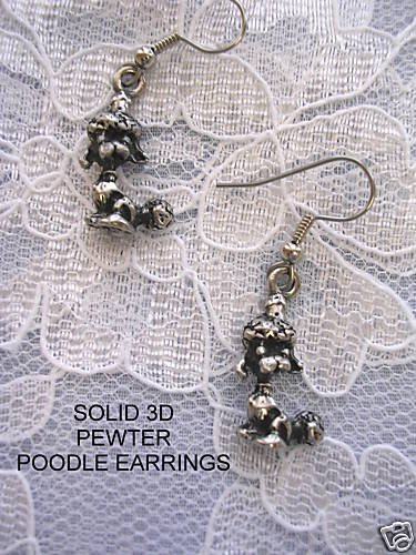 NEW CUTE 3D POODLE DOG CHARMS DANGLING PEWTER DOGS EARRINGS