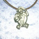 FUN DETAILED SAFARI MONKEY WITH BANANA PEWTER PENDANT NECKLACE