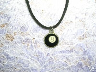 WILD EIGHT 8 BALL POOL BALL w BLACK INLAY BILLIARD BALL ADJ CORD NECKLACE
