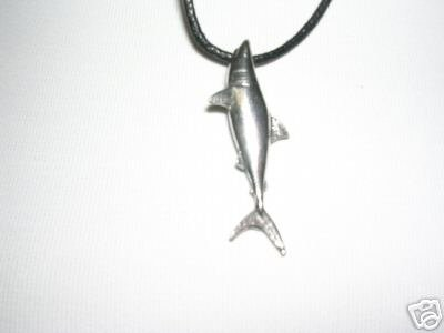 "WILD FULL BODY SHARK SILVER PEWTER PENDANT 30"" NECKLACE"