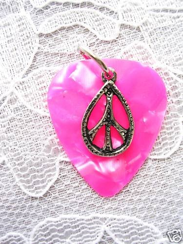 NEW CUSTOM MUSICAL HOT PINK GUITAR PICK w PEACE SIGN DROPLET PENDANT NECKLACE