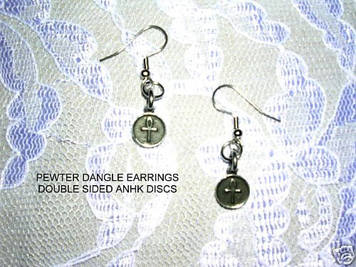 SOLID SILVER PEWTER ANHK ROUND DISC 2 SIDED DANGLING CHARM EARRINGS ANKH