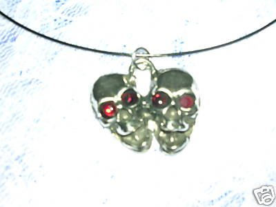 "TWIN SKULLS RED CRYSTAL EYES PENDANT 18"" CABLE NECKLACE"