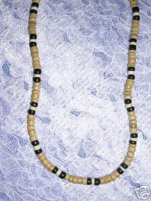 "Natural TAN w BLACK & WHITE COCO SURF BEADS 18"" NECKLACE"