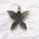 NEW CAST PEWTER CELTIC SCROLL INFINITY KNOT DESIGN BUTTERFLY PENDANT ADJ CORD NECKLACE