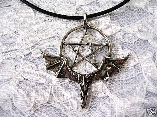 NEW PAGAN DRAGON HEAD w WINGS & PENTACLE STAR PEWTER PENDANT ADJ NECKLACE