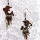 OCEAN LIFE BEACH FUN COCONUT SHELL DOLPHINS w DANGLING BEADS EARRINGS DOLPHIN
