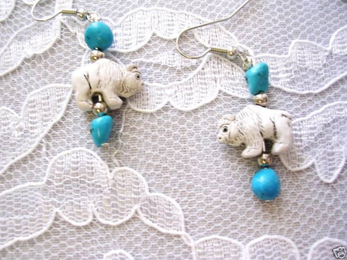HAND PAINTED CERAMIC 3D WHITE BUFFALO & 4 BLUE TURQUOISE NUGGETS WESTERN EARRINGS