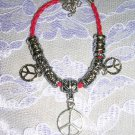 "NEW RED BEADED HIPPIE PEACE SIGN MULTI  FUN CHARM BRACELET 7"" - 9"""