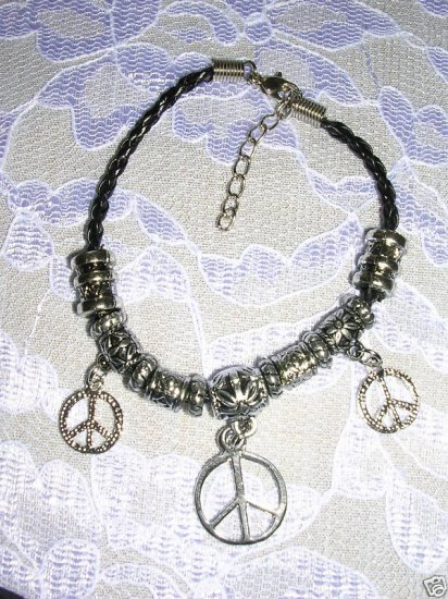 "BLACK BEADED HIPPIE PEACE SIGN CHARM BRACELET 7"" - 9"""
