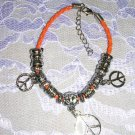 "ORANGE BEADED HIPPIE PEACE SIGN CHARM BRACELET 7"" - 9"""
