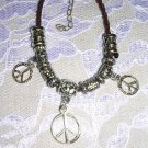 "FUN TRENDY BROWN BEADED HIPPIE MULTI PEACE SIGN CHARM BRACELET 7"" - 9"""