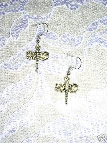 CUTE SPECKLED DRAGONFLY DANGLING SILVER ALLOY CHARM EARRINGS