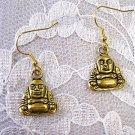 NEW GOLDEN BUDDHA IN SQUAT 2 SIDED DANGLING CHARM ZEN EARRINGS