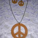 "LIGHT RUSTY BROWN WOODEN PEACE SIGN PENDANT 24"" BALL CHAIN NECKLACE & EARRINGS SET"