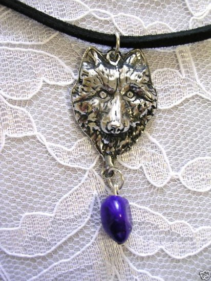 NEW WOLF HEAD w PURPLE TURQUOISE NUGGET NECKLACE WOLVES