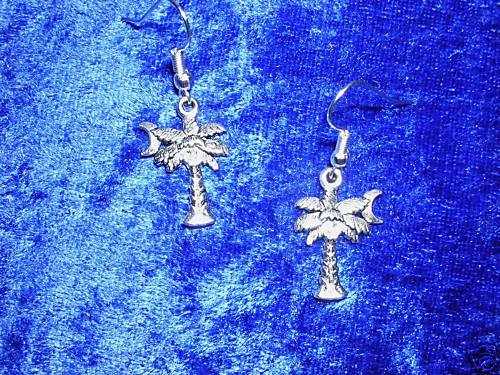 EXOTIC TROPICAL NIGHT PALM TREE w MOON ALLOY SILVER CHARM EARRINGS