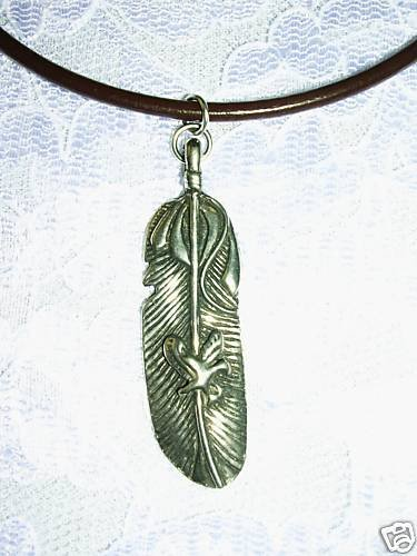 NEW USA CAST PEWTER TRIBAL EAGLE FEATHER PENDANT ADJ CORD NECKLACE