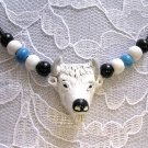 HAND PAINTED WHITE SPIRIT BUFFALO CERAMIC PENDANT & BEADED ACCENT ADJ NECKLACE