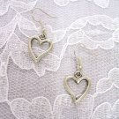 PRETTY LOVE HEART / HEARTS TIBETAN SILVER EARRINGS JEWELRY