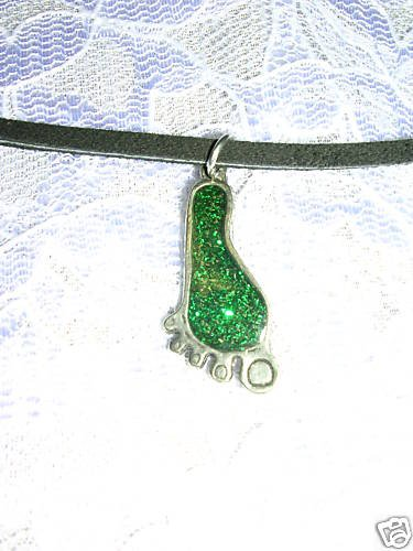 NEW BAREFOOT FOOT GREEN GLITTERY INLAY PEWTER PENDANT NECKLACE