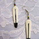 NATIVE HAND MADE & HAND PAINTED WHITE CARVED BUFFALO BONE FEATHER EARRINGS