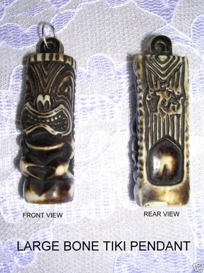 3D TEA STAINED RESIN TIKI MAN PENDANT ISLAND CULTURE NECKLACE