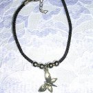 NEW BLACK CORD w PEWTER BUTTERFLY CHARM DANGLE BRACELET