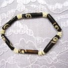NEW  BUFFALO BROWN DECO & NATURAL WHITE BONE BEAD STRETCH BRACELET