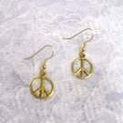 WAY COOL ROUND GOLD TONE PEACE SIGN CHARMS PIERCED EARRINGS JEWELRY