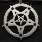 EVIL DOUBLE PENTAGRAM STAR w 5 DEEP BLUE CRYSTAL POINTS PEWTER PENDANT NECKLACE